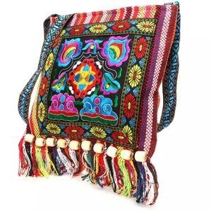 Boho Ethnic Style Embroidered Canvas Crossbody Bag